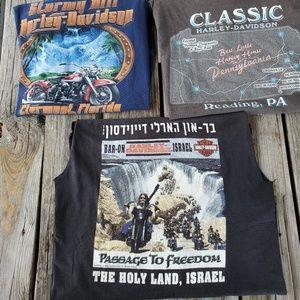 Harley Davidson 3 shirt Lot 1 Medium 2 Large